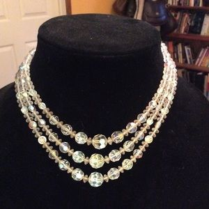 Vintage crystal stunning three strand choker
